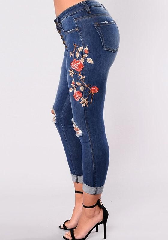 e48fe8cdd3 Blue Floral Cut Out Embroidery High Waisted Long Jeans in 2019 ...