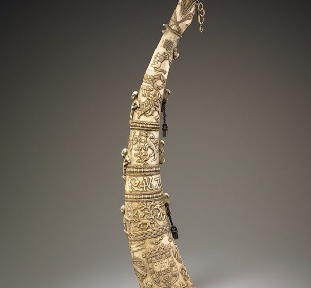 2005: NMAFA acquires hunting horn (Sierra Leone, 15th cen.) How would you describe it in 1 word? #africanartat50 #africa   While the materials & artistry of this hunting horn can be traced to Sierra Leone, its features suggest that it was made by a Bullom or Temne artist for a European client.  The shields & inscriptions carved by this unidentified master artist help identify it as a gift from C.Prince Manuel I of Portugal to King Ferdinand V of Castile and Aragon.