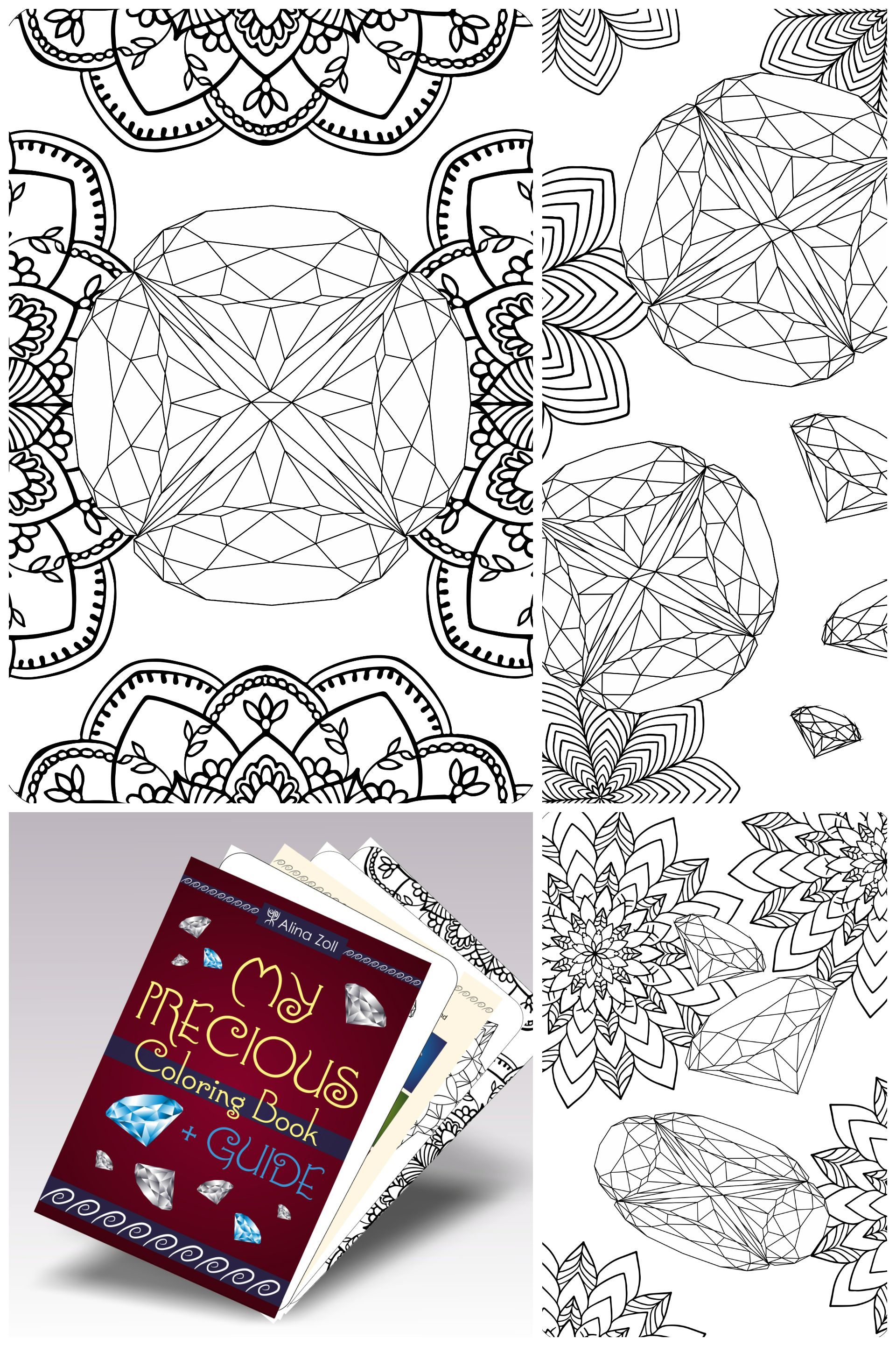 Gemstone adult coloring book download coloring pages with guide and