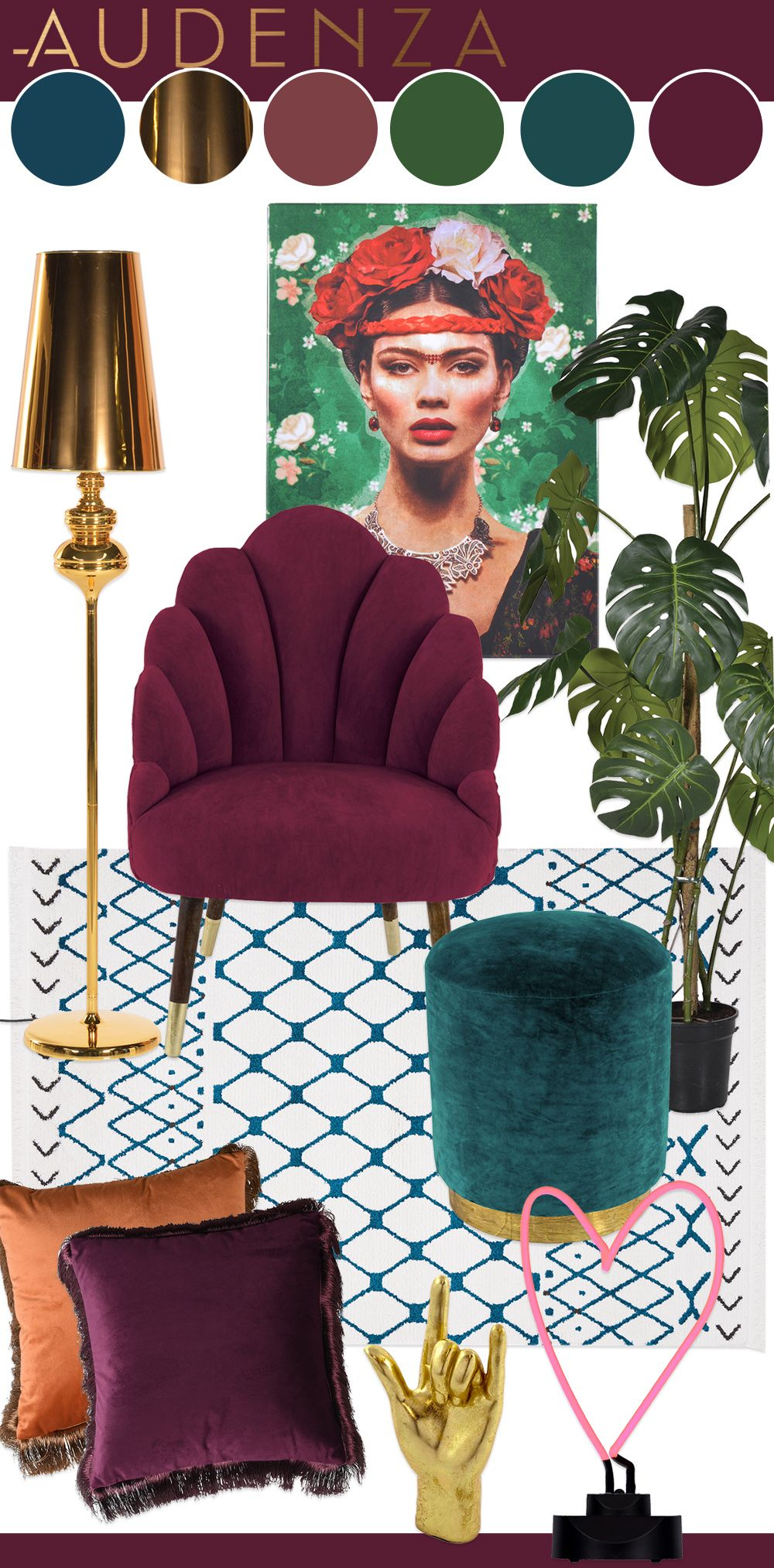 Interior mood board inspiration- teal and ruby colour palette with gold home accessories and…