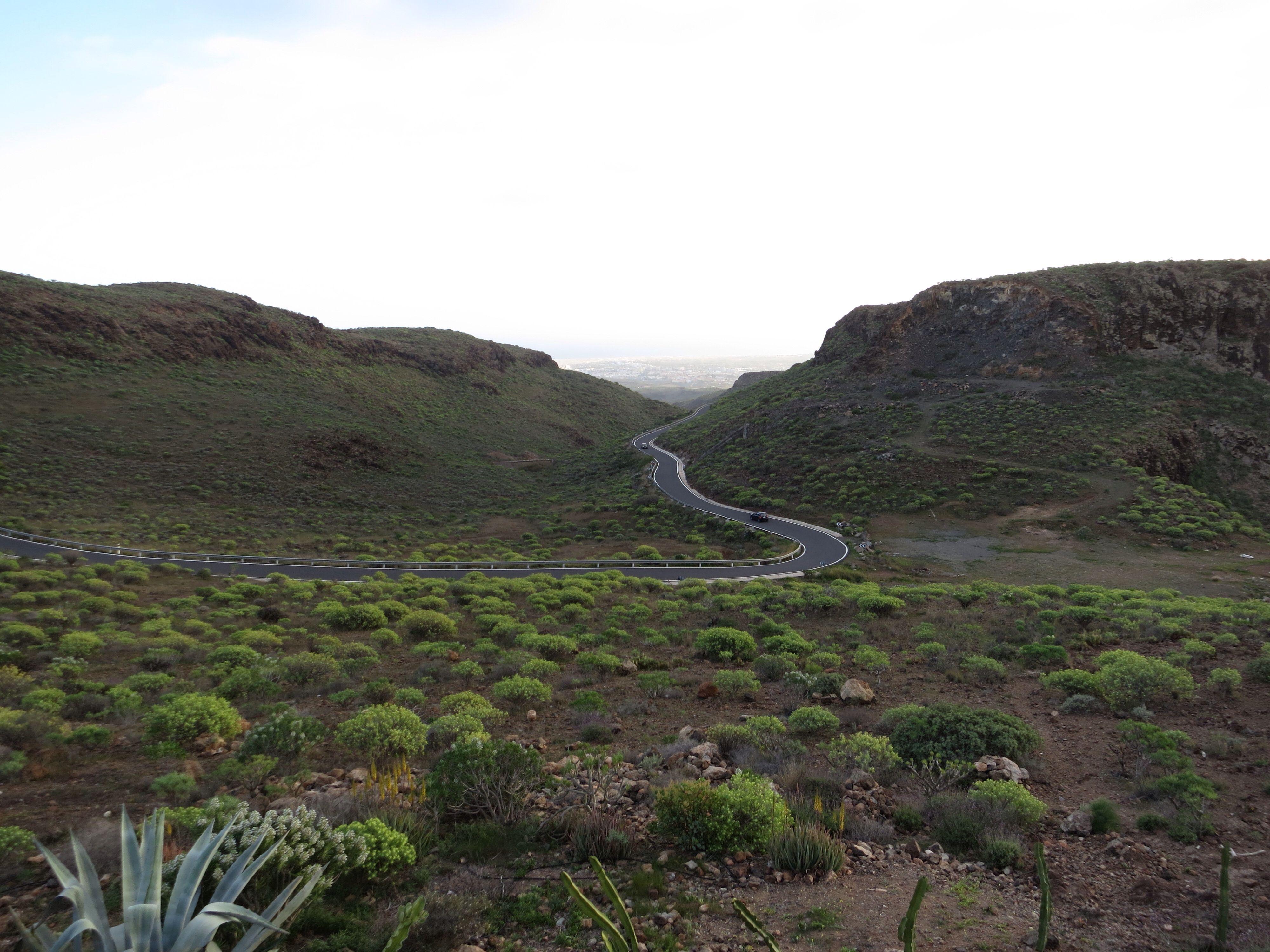 Long and winding road towards the sand dunes of Maspalomas, Gran Canaria