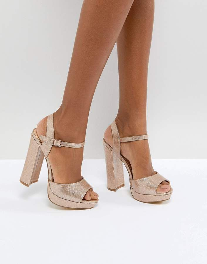 ef709cab9627d7 Office Hunk Rose Gold Sparkle Platform Sandals