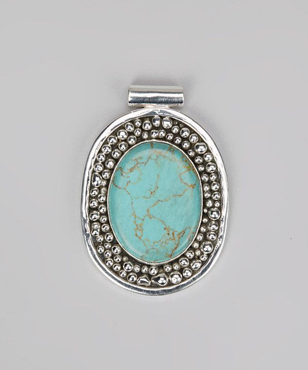 Take a look at this Turquoise & Silver Oval Pendant on zulily today!