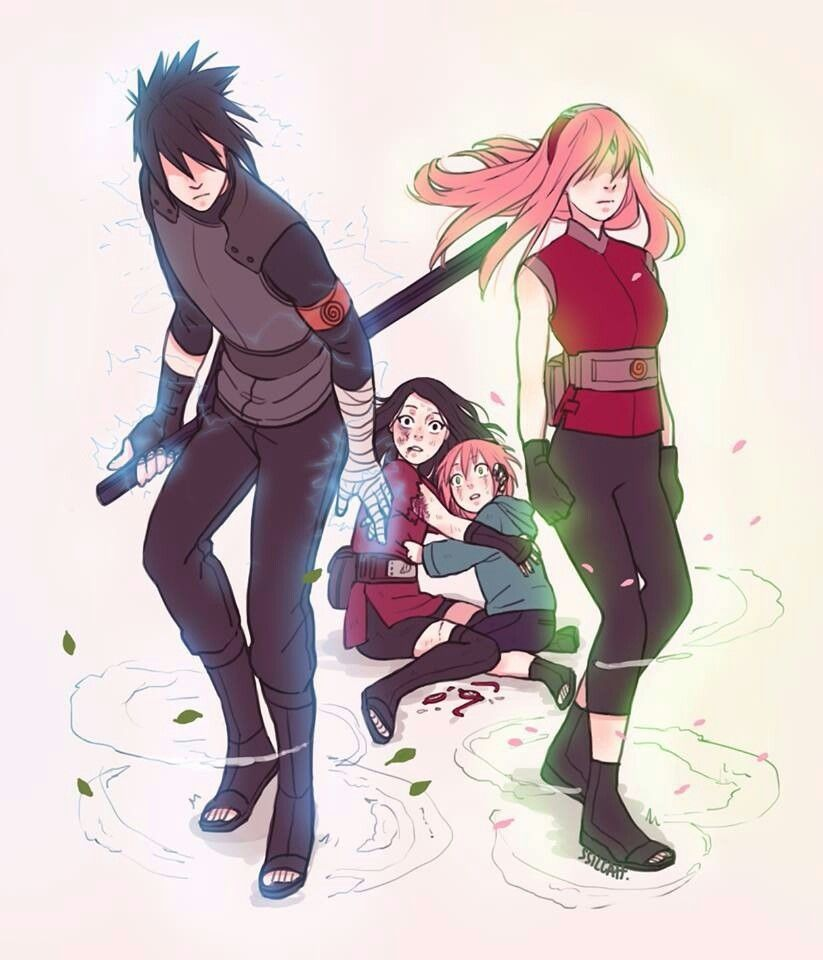 Sakura Haruno Sasuke Sarada Brother Uchiha Naruto Shippuden Gaiden Fanart Gambar Manga Animasi Gambar Anime