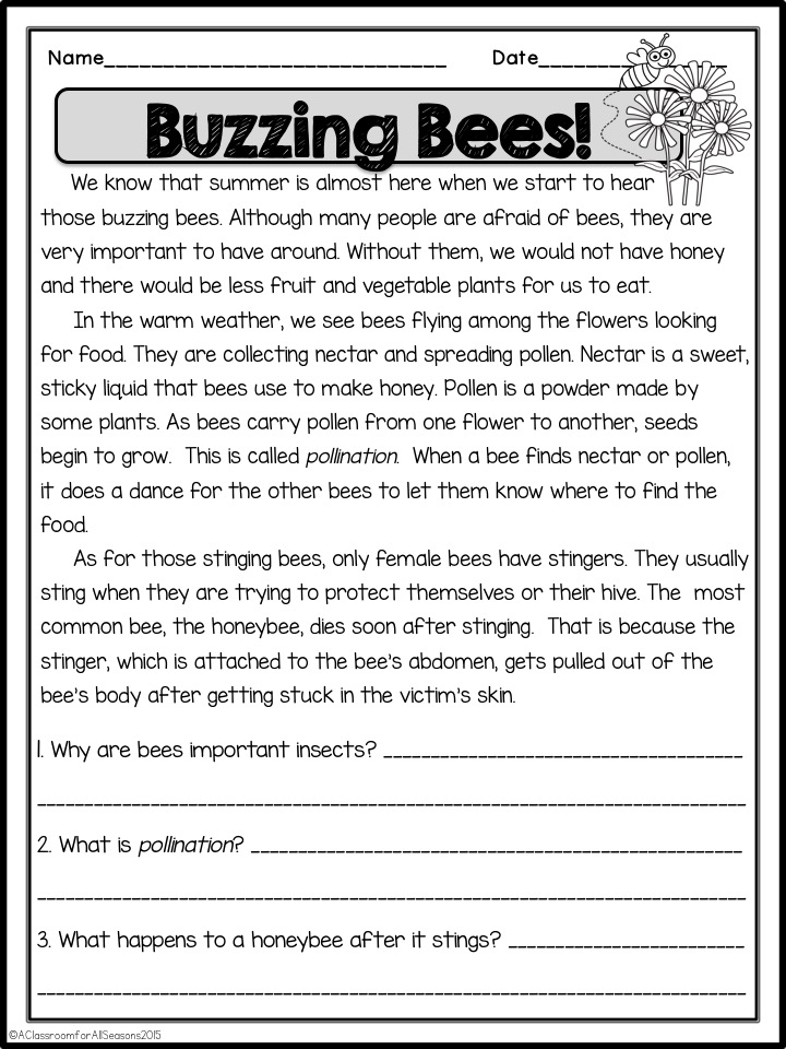 Reading Comprehension Passages - Classroom Freebies Reading Comprehension  Passages, Comprehension Passage, Reading Comprehension