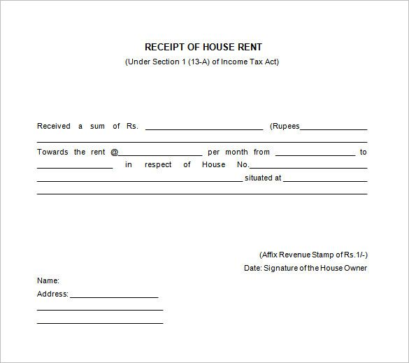 House Rent Receipt Templates Receipt Of House Rent  Receipt