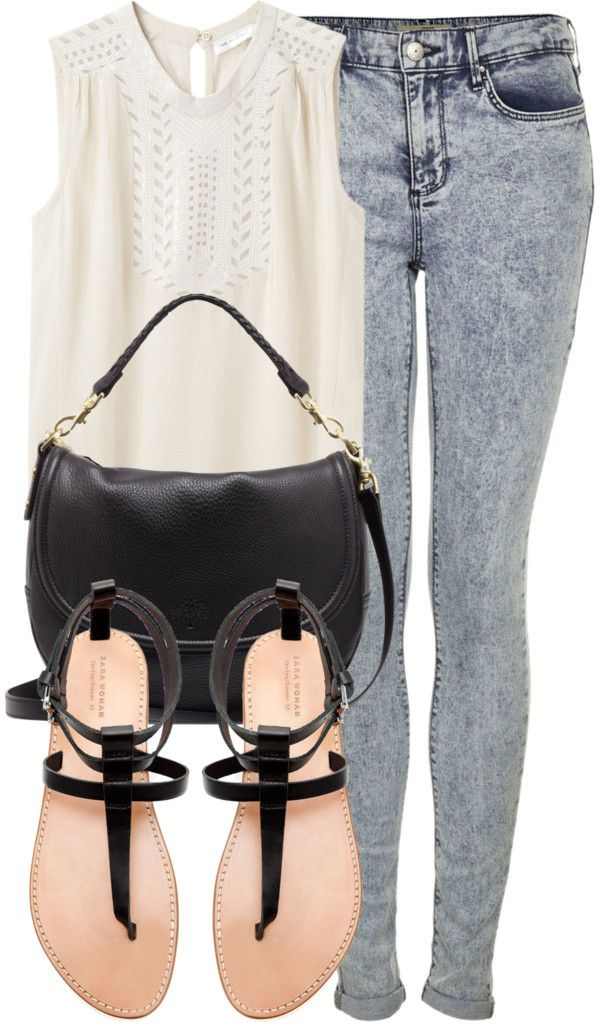 Inspired outfit for lunch with friends Untitled #258 by celinarrr featuring topshop Étoile Isabel Marant Finn Sleeveless Top / MOTO Bleach Acid Leigh Jeans £38.00 / Mulberry Effie Satchel in Black £595.00 / Flat Thong Sandals with Buckle £39.99