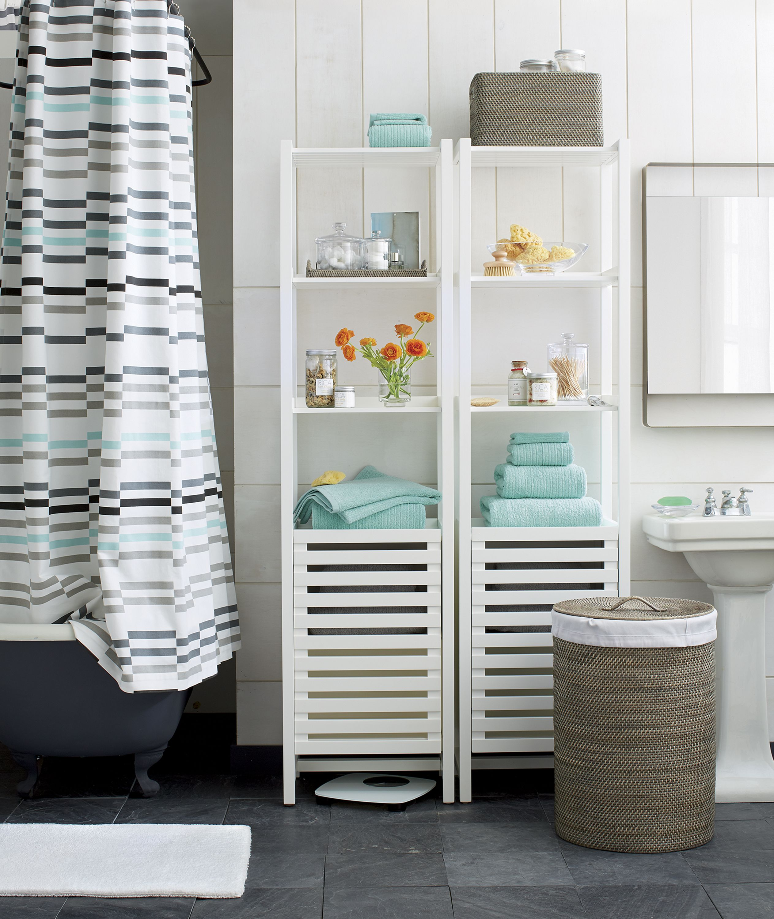 Banya White Bath Tower | Open shelves, Bath accessories and Small spaces