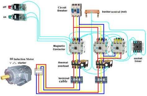 Wiring Dol Starter Motor Star Delta Electrical Circuit Diagram Electrical Projects Electrical Diagram