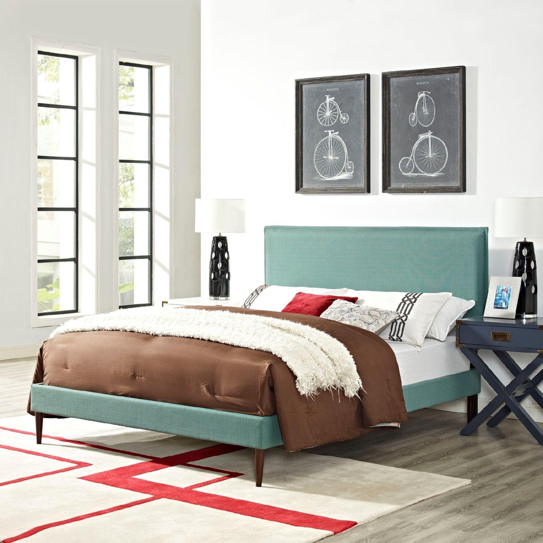 Modway Furniture 5635 Light Blue Queen Fabric Platform Bed