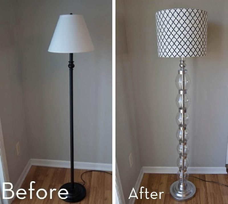 Add some glam to a boring floor lamp with a few inexpensive materials.  Plenty of - Add Some Glam To A Boring Floor Lamp With A Few Inexpensive