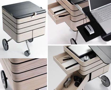 Transforming Fold Out Storage Unit Computer Desk