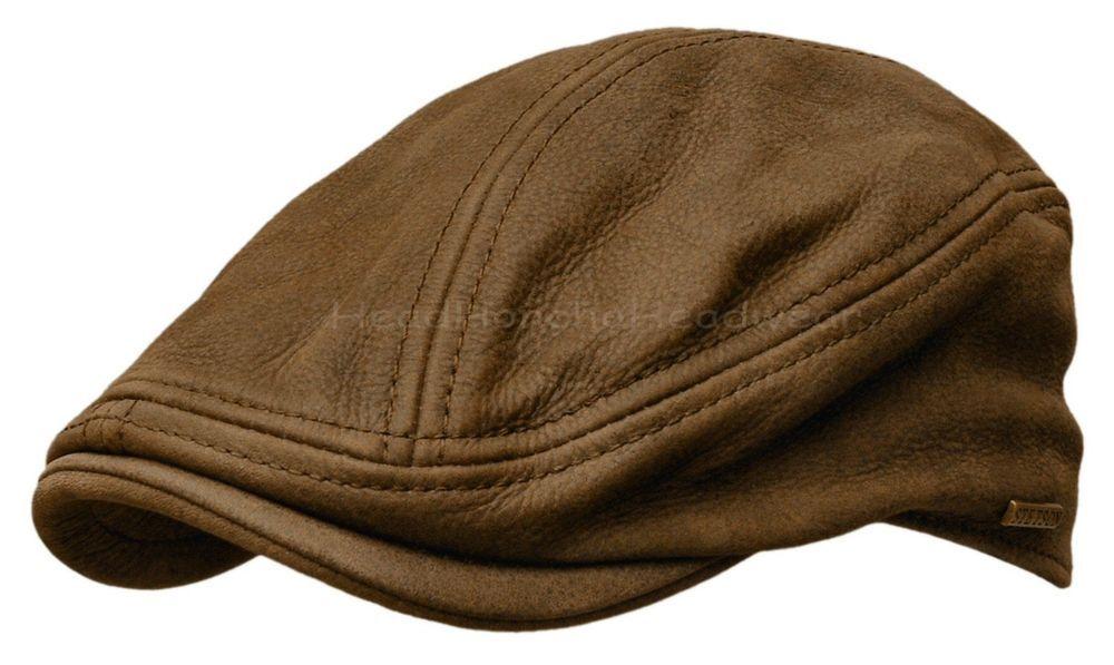 STETSON Leather IVY Cap Mens Gatsby Newsboy Hat Golf Brown Driving Flat S M  L XL  STETSON  Ivy 6672e3ab69c