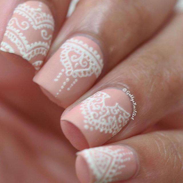Nude Nails With White Lace Detail Wedding Ideas Nail Art Nails