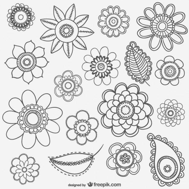 resultado de imagen para flores vintage vector blanco y negro