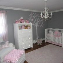 Pink And Gray Clic Nursery Room View