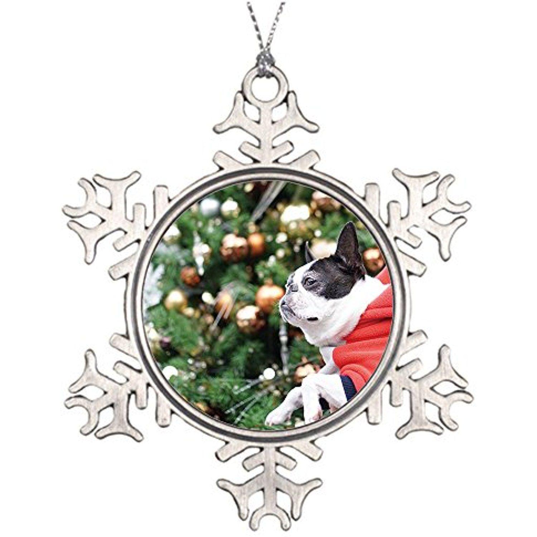 Christmas Tree Branch Decoration Metal Snowflake Flat ...
