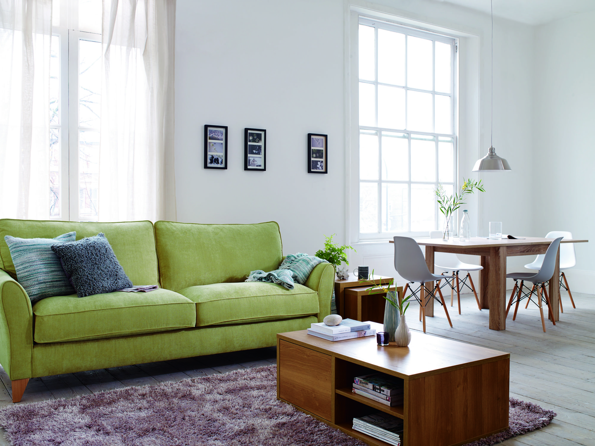Lime Green Sofa To Bring A Bright Colour To A Basic Decorated House, Be  Inspired. #home #lounge #sofa #cushions