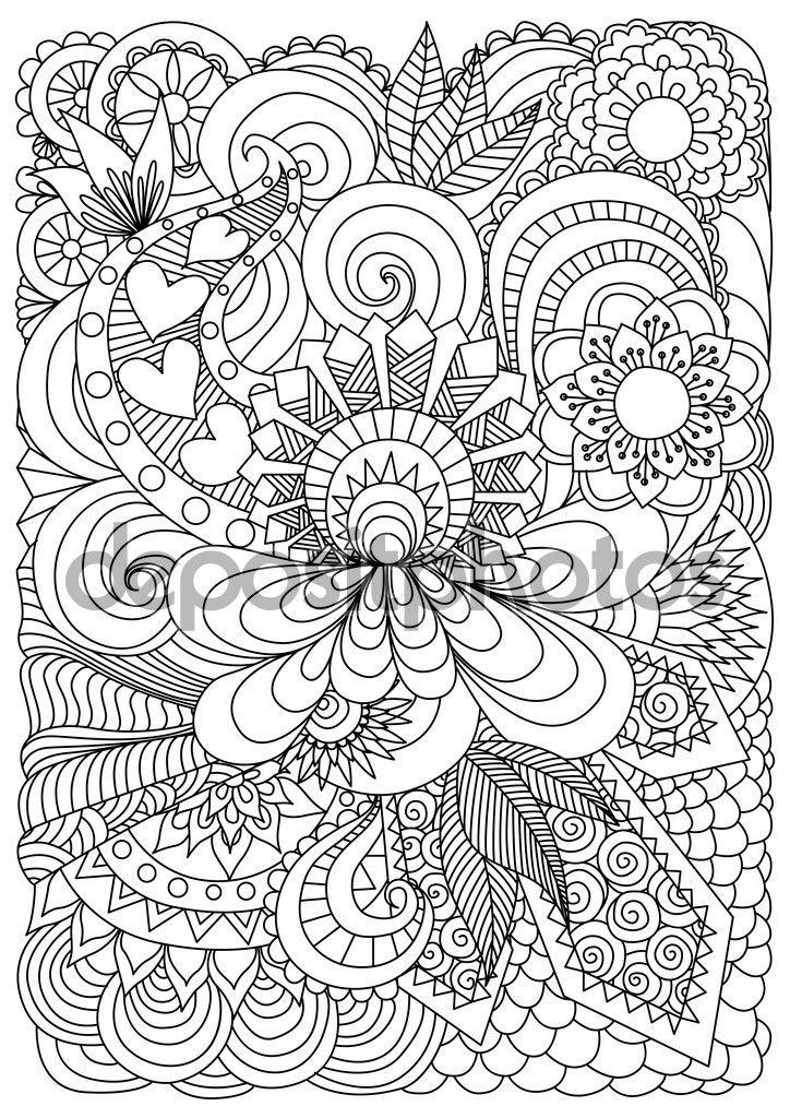 Fondo Floral Zentangle Dibujado Por Página Para Colorear De La Mano