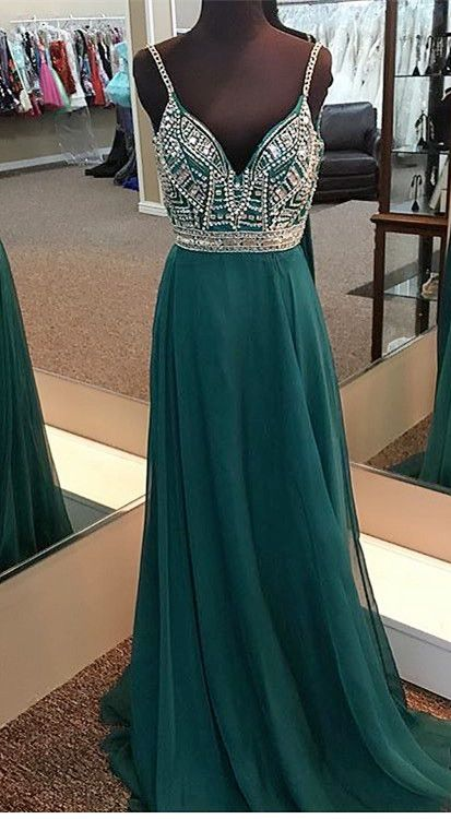 dd3ece4183 Beaded Straps Emerald Green Chiffon Long Prom Dress from wendyhouse ...