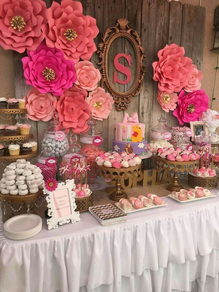 Pink extra large paper flowers baby shower decor idea