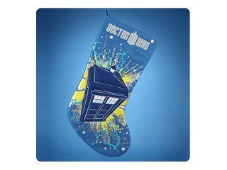 Make Santa smile when he stuffs your Doctor Who TARDIS Blue Christmas Stocking! Featuring the Doctor Who TV show logo on the top with an illustration of the TARDIS in the middle, this Christmas stocking not only makes for a great holiday-themed collectible but quite the serviceable stocking, too.