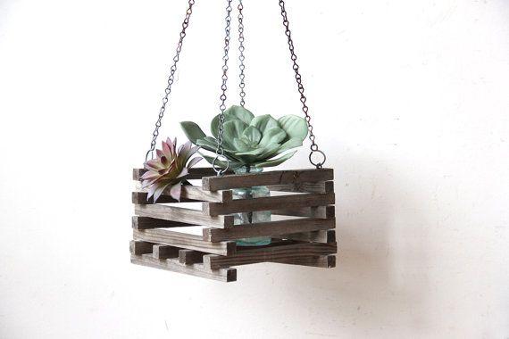 Hanging Wooden Slatted Planter Box Apartment Garten Blumenampel