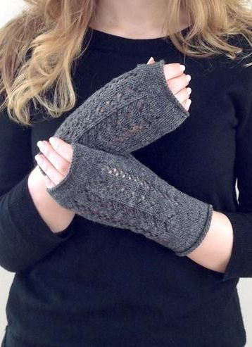 Pointelle Knit Fingerless Mittens