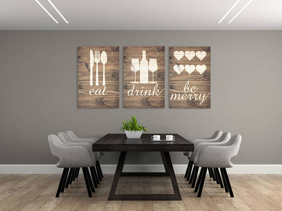 Rustic Eat Drink Be Merry Eat Wall Art Eat Sign Rustic Eat Etsy Dining Room Wall Decor Decor Kitchen Wall Decor