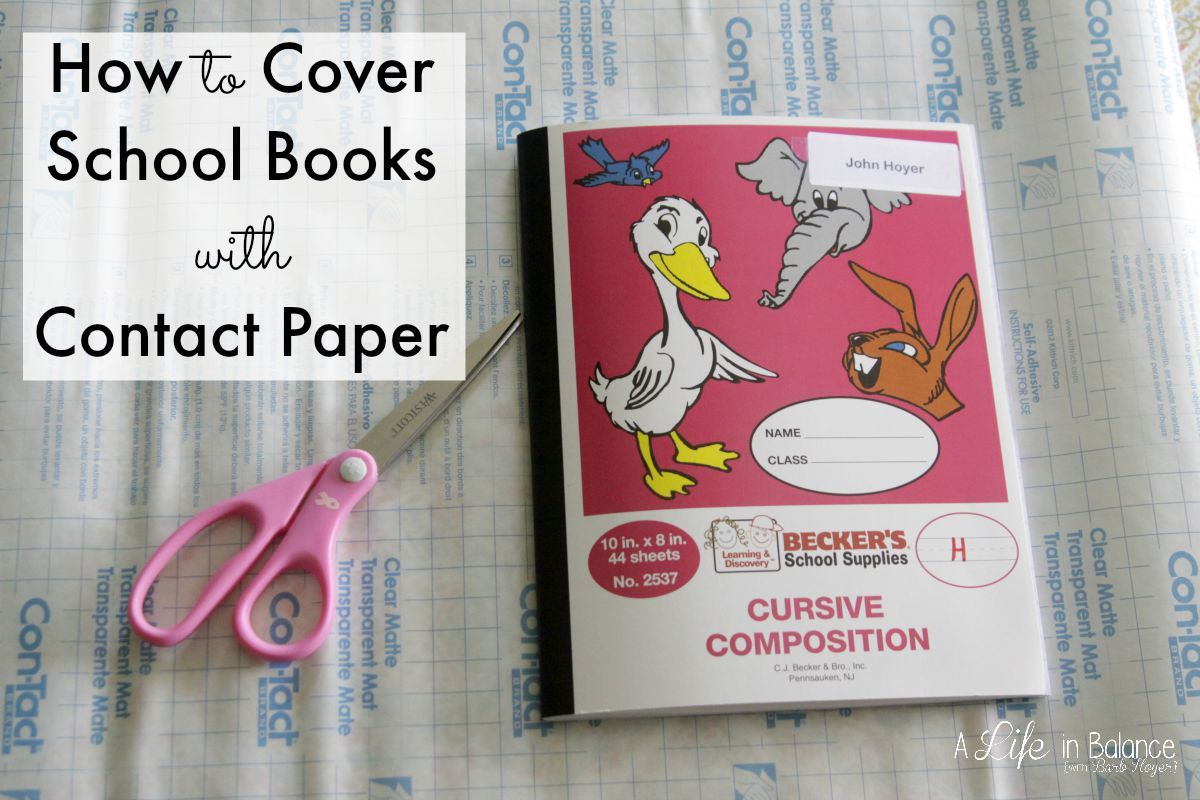 How to Cover School Books with Contact Paper Workbook