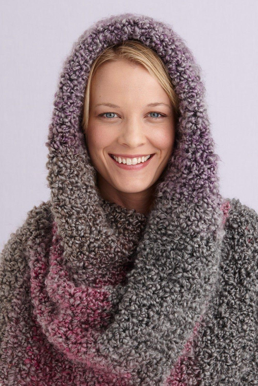 Lush Hooded Scarf (Crochet) - Lion Brand Yarn | crochet | Pinterest ...
