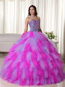 55bf8bd3669 Buy multi color strapless floor length tulle quinceanera dress with  appliques from fuchsia quinceanera dresses collection