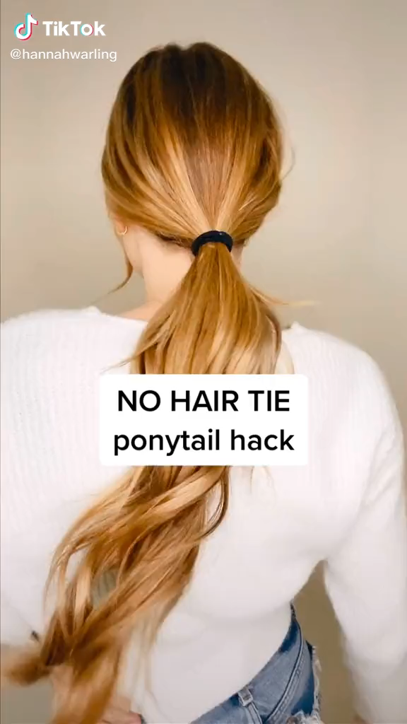 Easy To Make Ponytail Without Hair Tie Video Long Hair Tips Easy Hair Dos Hair Hacks