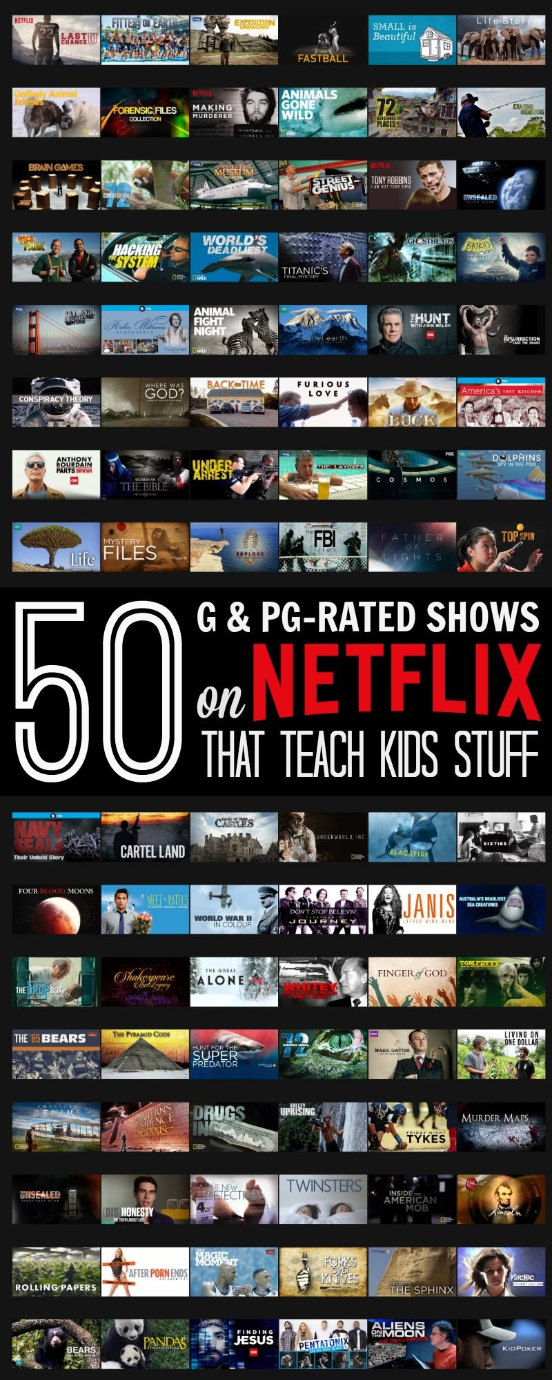 What I Learned On Netflix 50 G Pg Rated Shows That Actually Teach Kids Stuff Streamteam Netflix Kids Netflix Teaching Kids