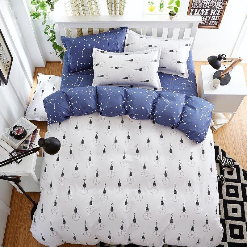 Fashion Bedding Set 4pcs/3pcs Duvet Cover Sets Soft Polyester Bed Linen Flat Bed Sheet Set Pillowcase Home Textile