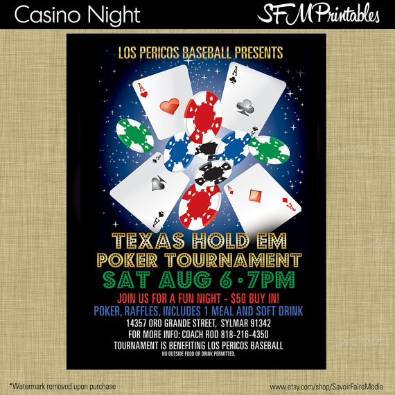 Poker Tournament Texas Hold Em Invitation Poster  Template Church