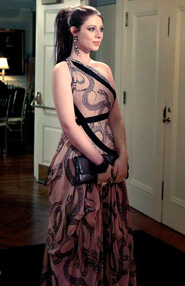 Gossip Girl's Best Looks ... Georgina Sparks (Michelle Trachtenberg) selected a Marchesa gown, Sequin earrings, a Kara Ross cuff, Swarovski and Lia Sophia rings and a Carlos Falchi clutch.
