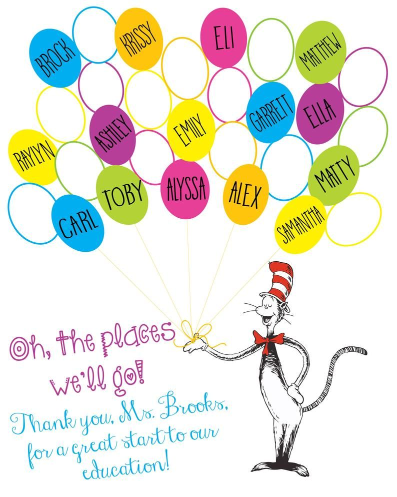 Oh The Places We Ll Go Class Print Thumbprint Balloons Cat In The Hat Gift For Teachers Teacher Appreciation 8x10 Digital File Teacher Gifts From Class Presents For Teachers Teacher Appreciation