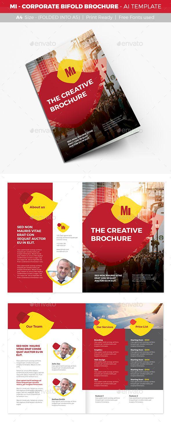 MI - Corporate Bifold Brochure Design Template - Corporate Brochures ...