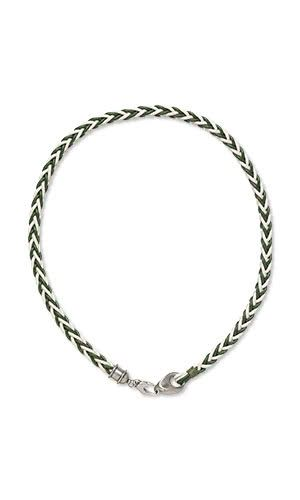 606fd2dfa1a62 DIY Simple Necklace  Leather cord is woven into a green-and-white kumihimo  cording then added to stainless steel findings for a St. Patrick s  Day-ready ...