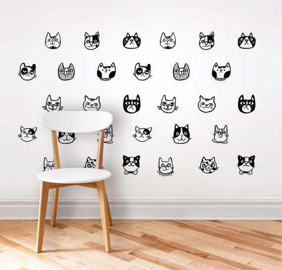 Wall Decal / Cats Wall Sticker / Home Decor / Nursery Decor / Removable  Sticker Part 67
