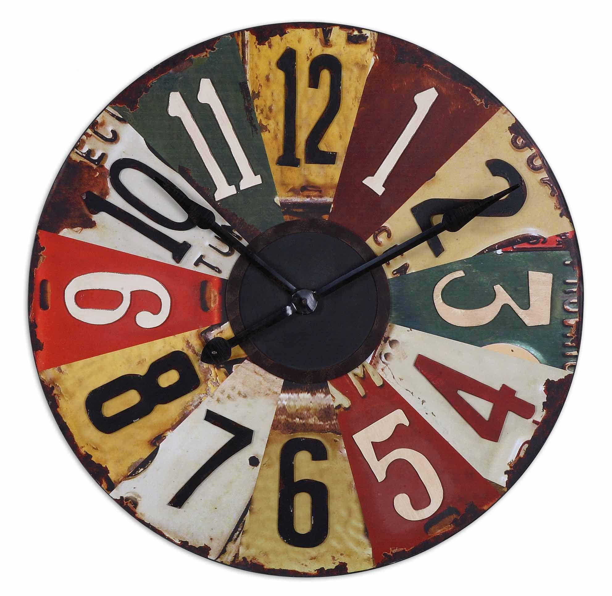 Uttermost Vintage Oversized 29 License Plates Wall Clock Clock Plates On Wall Wall Clock