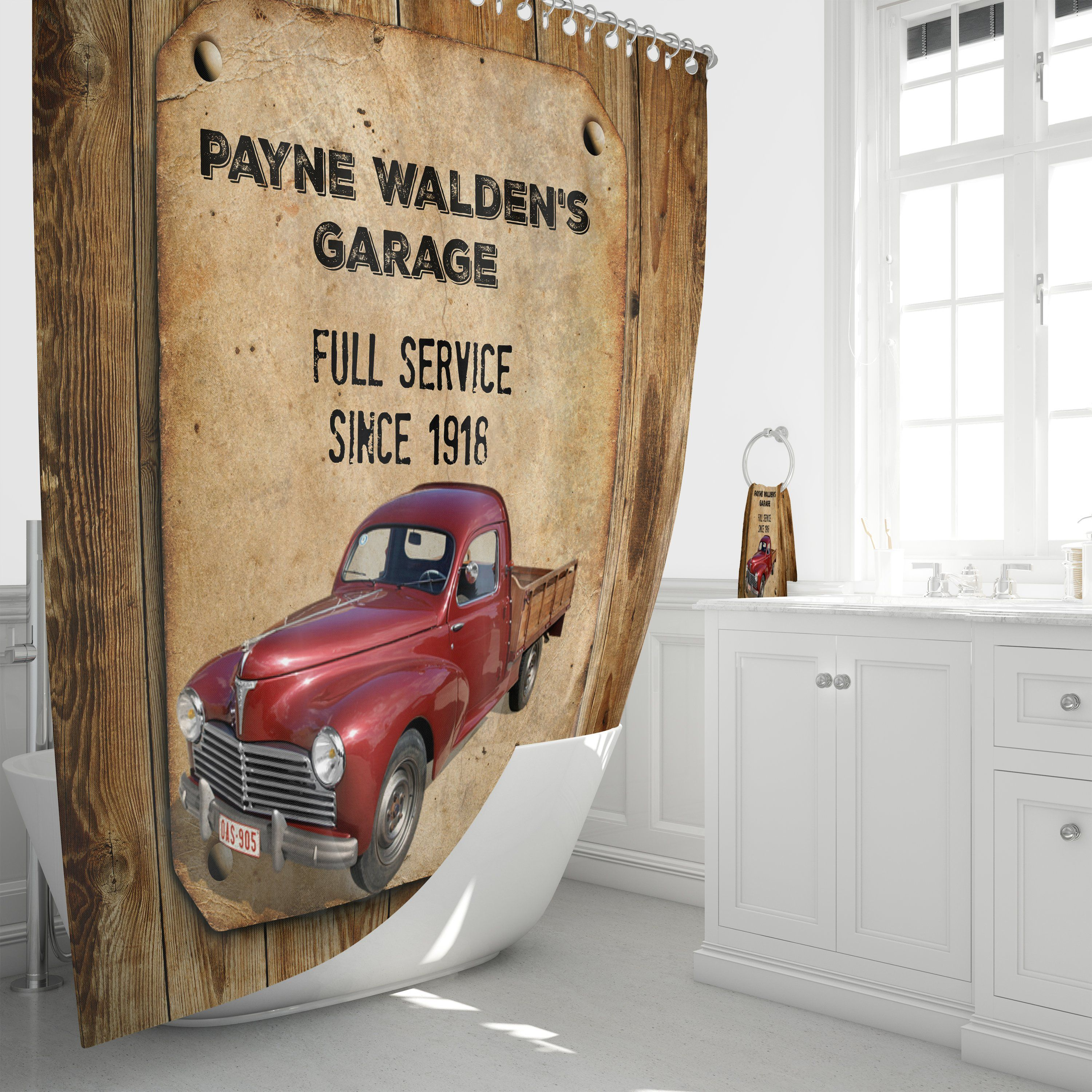 Personalized Rustic Faux Wood Red Truck Shower Curtain Vintage