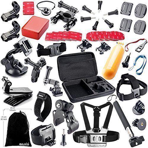 BAXIA TECHNOLOGY 44-in-1 Accessories for GoPro HERO 5 Session 4 3 3 2 1 Black Silver SJ4000//5000//6000 Sports Camera Accessories for Xiaomi Yi// AKASO// WiMiUS// Lightdow// DBPOWER// APEMAN// Aokon// ANART