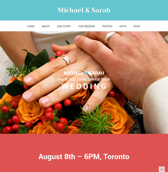 This wedding WordPress theme comes with a responsive layout, WooCommerce compatibility, a page builder, custom shortcodes, unlimited colors, Flickr and Twitter widgets, RTL language support, 6 custom post types, Google Web Fonts, and more.