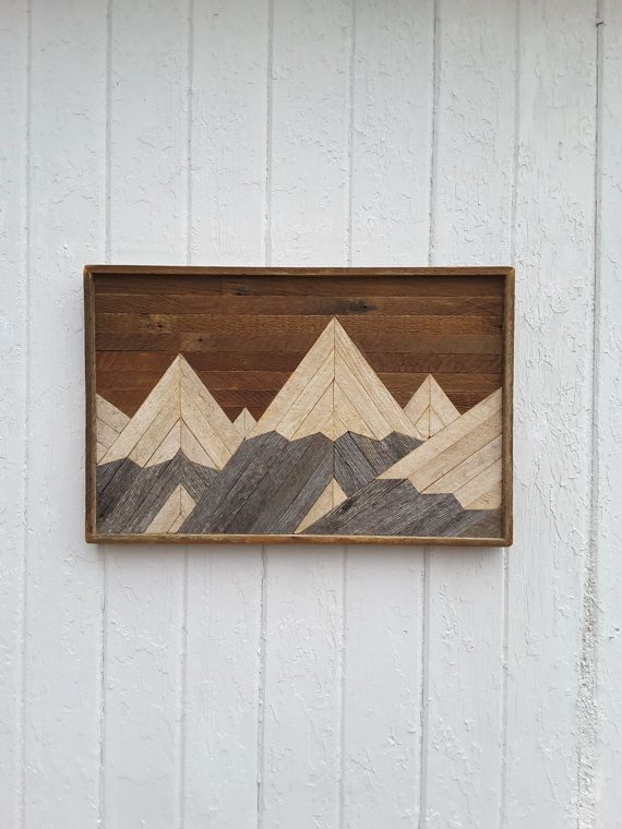 Handmade Original Design Rustic Shabby Chic Wall Art Of A Snow Covered Mountain Range Using Reclaimed Lath And We With Images Reclaimed Wood Wall Art Lath Art Rustic Art
