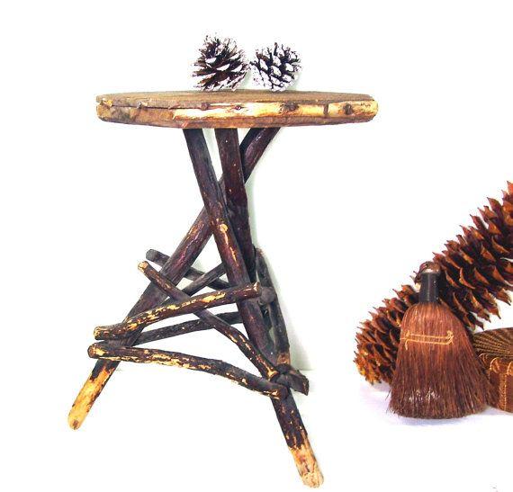 Antique Twig Table Vintage Primitive Tree Branch Rustic Furniture | Wooden  Furniture, Primitives And Twig Furniture