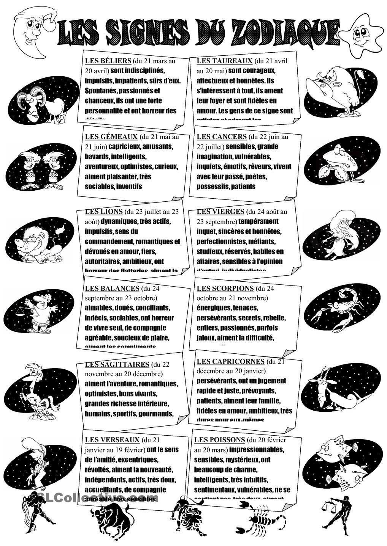 les signes du zodiaque ressources centr es sur l 39 tudiant feuilles d 39 exercices et imprimables. Black Bedroom Furniture Sets. Home Design Ideas