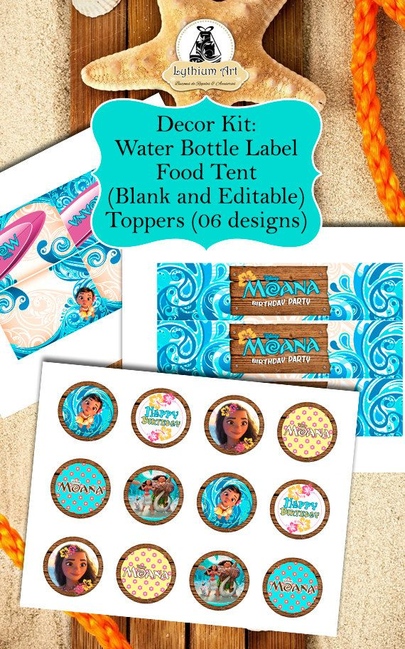 MOANA LABELS Moana Decor Kit Labels Toppers Food Tents Birthday Party PrintablesMoana DecorMoana WELCOME TO