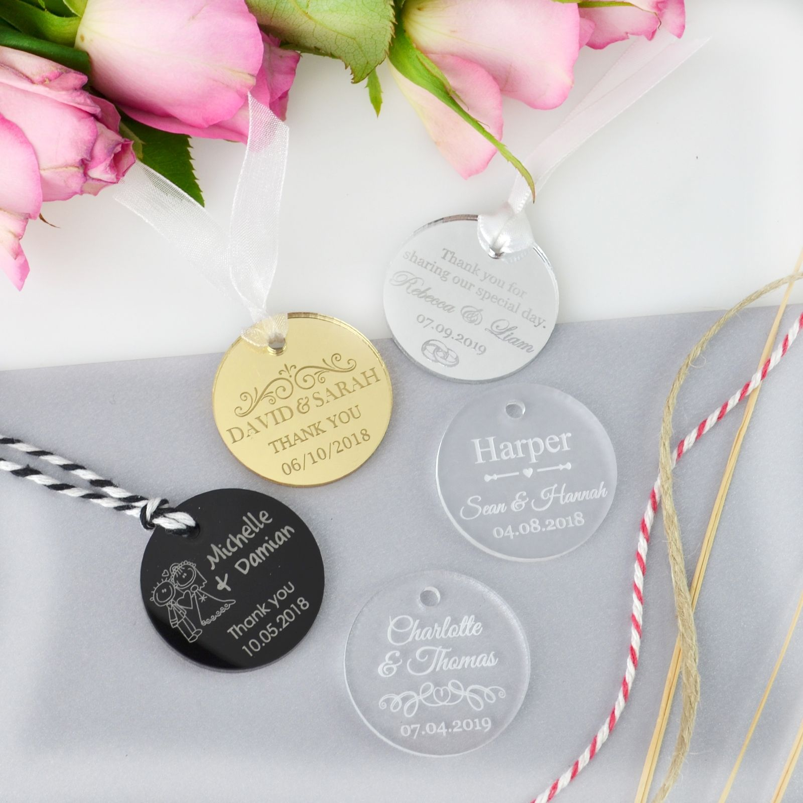 Round Acrylic Wedding Gift Tags | Getting ready... | Pinterest ...